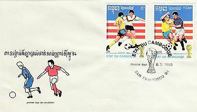(40703) CLEARANCE Cambodia FDC Football World Cup San Francisco - 6 March 1992
