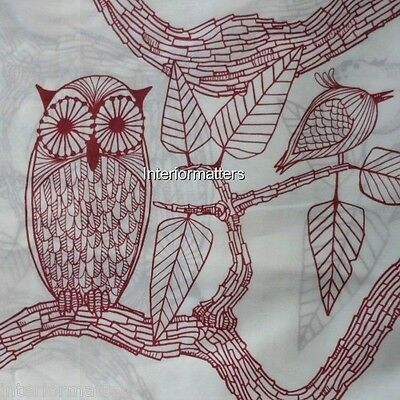"EVE Owl Bird Leaf set of 2 GROMMET WINDOW PANELS 80x84"" BURGUNDY RED IVORY new"