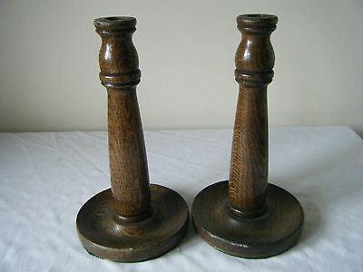 Nice Pair Vintage Chunky English Oak Candlesticks