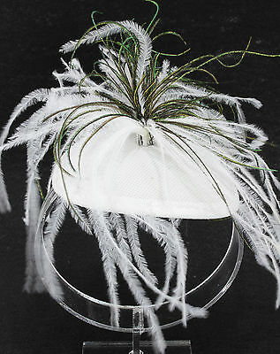 Dramatic peacock plume feather fascinator clip on mini hat topper white derby