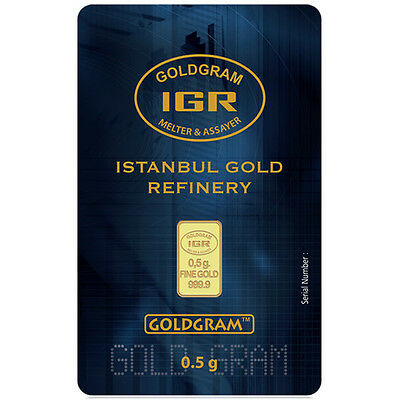 1/2 Gram IGR Istanbul Gold Refinery Bar 9999 Fine In Assay Card