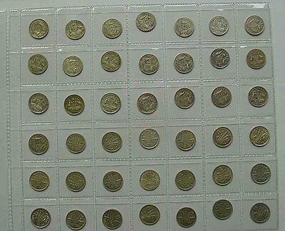 1910 to 1964 Australian Threepence complete set on new coin page.