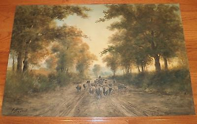 19th Century 24x36 Shepherd & Sheep on Road W/C-G.H. Flavelle