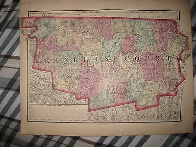 Rare Fine Antique 1871 Franklin County Massachusetts Handcolor Map Greenfield