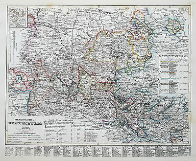 1849 Germany Herzogthum Braunschweig Genuine Antique Map Meyer Hand Coloured