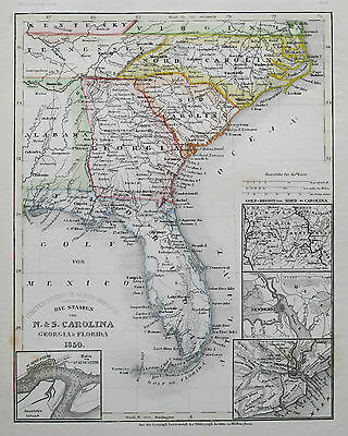 1850 United States of America Florida Georgia Carolina Antique Map Meyer