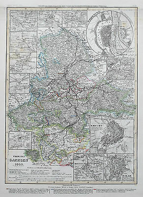 1849 Germany Provinz Sachsen Erfurt Magdeburg Antique Map Meyer Hand Coloured