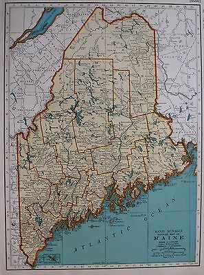 1939  Antique  MAINE  Map Vintage 1930s Atlas Map of Maine Gallery Wall Art 1165