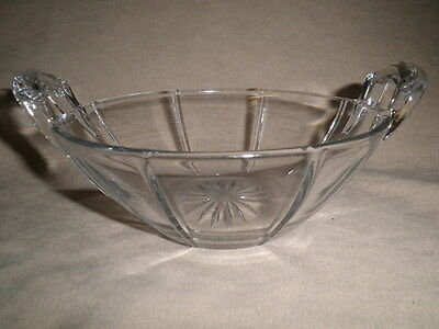 Vintage  Heisey Clear Glass Bowl  With Ribs And Handles   Signed  H In A Diamond