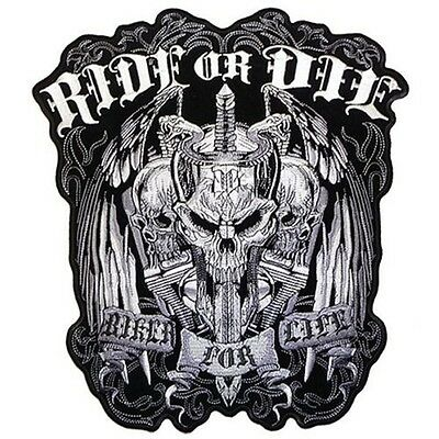 RIDE OR DIE Skull Biker For Life Motorcycle MC Embroidered BACK Patch LRG-0523