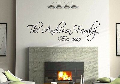 "36"" Personalized Custom Family Name Wall Decal vinyl lettering quote Scriptina"