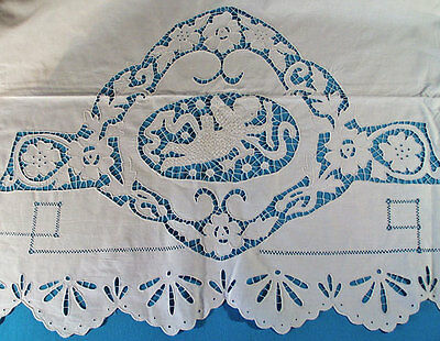 1920's UNUSED COTTON CUPIDS ITALIAN SHEET SET WITH CUTWORK  LARGE LONG  BOLSTER