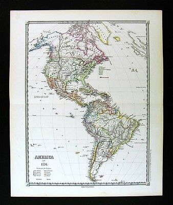 1855 Spruner Map North South America since 1776 United States Louisiana Texas
