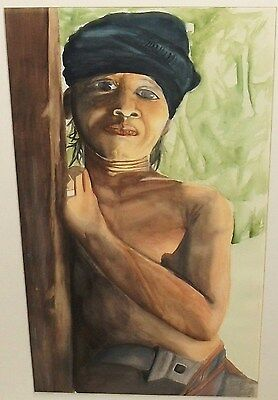 African Woman Original Watercolor Painting Unsigned