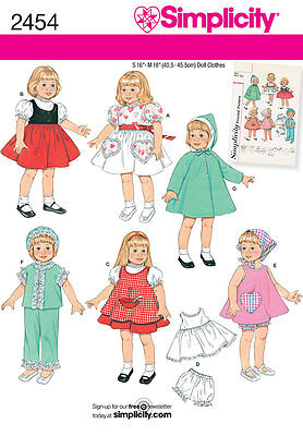 Sewing Pattern Simplicity 2454 Doll Wardrobe For 16 Inch & 18 Inch Doll