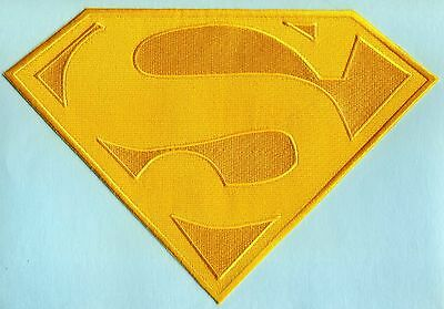 """7"""" x 10"""" Embroidered Dean Cain style Superman All Yellow Cape Logo Patch"""