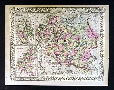 1882 Mitchell Map - Russia Norway Sweden Finland Moscow Denmark Holland - Europe
