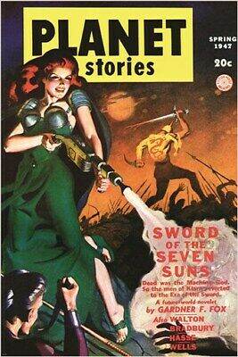 PLANET STORIES vintage comic book cover poster SPRING 1947 sci-fi 24X36 RARE