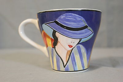 """Sango Cafe Paris 4914 Two Ladies Faces Small Coffee Mug Cup 3"""" Tall Retired 1994"""