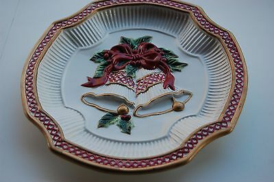 Fitz & Floyd Holiday Bells Christmas Canape Cookie Plate Wall Hanging