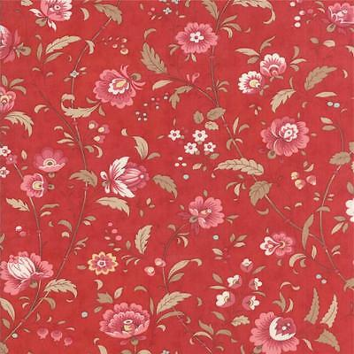 Moda 3 Sisters Printemps Quilt Fabric Lg Floral Scarlet Red Pink 1/2Y