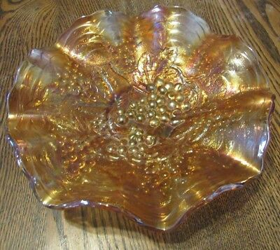Vintage Carnival Glass Imperial Grape 9 Inch Marigold Ruffled Bowl