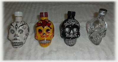 3 KAH MINI TEQUILA COLLECTABLE BOTTLES & CRYSTAL HEAD VODKA SKULL EMPTY CERAMIC