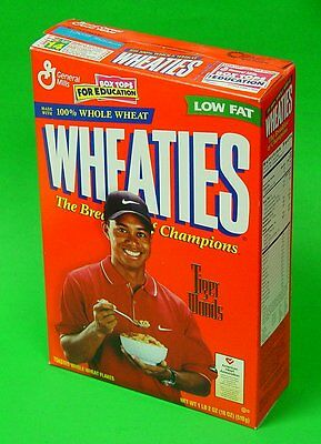 VINTAGE Wheaties The Breakfast of Champions TIGER WOODS 1999 Empty Cereal Box