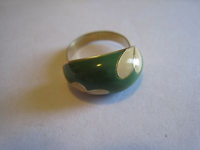 Gold Tone Adjustable Ring With Cream & Green Enamel, Unmarked