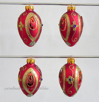 Jeweled Red Egg With Gold Oval Designs Blown Glass Small Ornament Set of 4 NIB