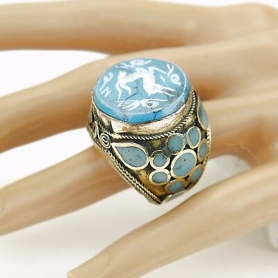 Turquoise RING Hand Carved Kuchi Belly Dance Tribal (many sizes available) 851f5
