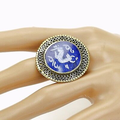 Lapis RING Hand Carved Kuchi Belly Dance Tribal (size 6, 7, 7.5, 8, 9 ) 851a6