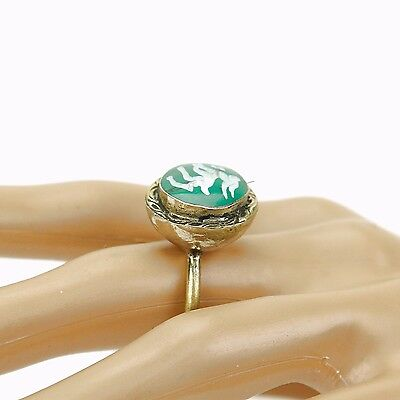Malachite RING Hand Carved Kuchi BellyDance Tribal (many sizes available) 851b5