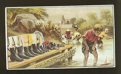 Pretty Victorian Trade Card A.G. Leonard Shoes Tor The Mark