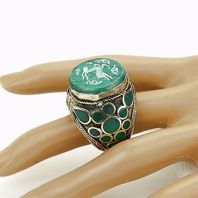 Malachite RING Hand Carved Kuchi BellyDance Tribal (many sizes available) 851f9