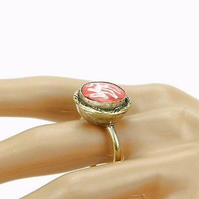 Coral RING Hand Carved Kuchi BellyDance Tribal (many sizes available) 851b1
