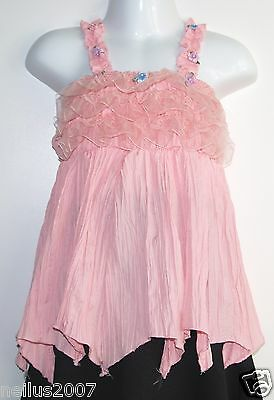 Girls Zhuoyue Kids Pink Crinkly Top With Straps and Ribbons Age 3-4