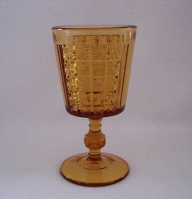 C.1891 EAPG Amber Two Panel Water Goblet