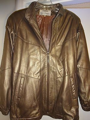 Dero by Rocco D'Amelio Rome New York Large Leather Lined Gold Jacket L@@K