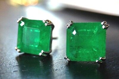 Stunning! New Authentic 5CTW  Emerald Doublet Sterling Silver 925 Earring Studs