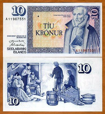 Iceland, 10 Kronur, Law 29 March 1961 (1981), P-48, UNC
