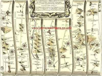 Oakham to Barnsley inc.Richmond Mansfield Replica 17c OGILBY  Old Road Map