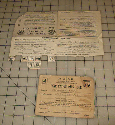 2 WWII War Ration Booklets (Book 1 and Book 4) With Stamps