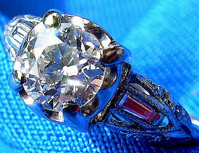 Deco Old European Cut Diamond Platinum Engagement Ring Antique Vintage Solitaire