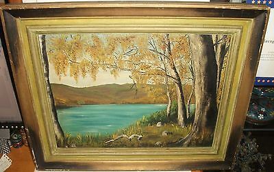 Rose Dorn Vintage Original Oil On Board River Landscape Painting