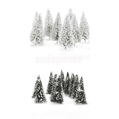 20pcs Model Trees w/ White Snow Railroad Park Garden Layout Winter Scenery HO N
