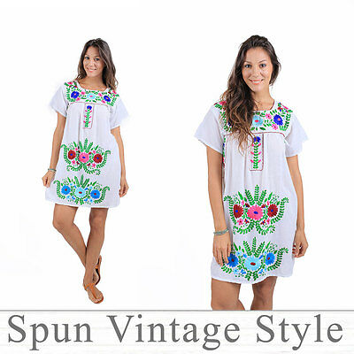 261c8c3d14 Mexican Oaxaca Puebla style Hand Embroidered Caftan Ethnic Peasant hippy  Dress