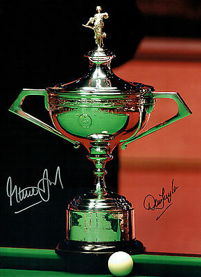 Steve DAVIS & Dennis TAYLOR Signed Autograph 16x12 SNOOKER Trophy Photo AFTAL