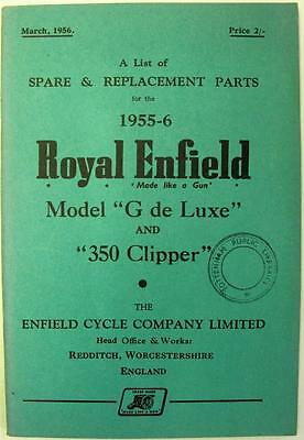 ROYAL ENFIELD 350 Clipper - Motorcycle Owners Parts List - 1955-56 -#523/2½M-356