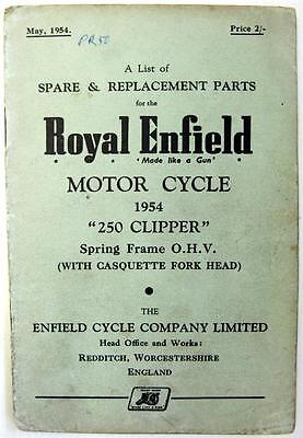 ROYAL ENFIELD 250 Clipper - Motorcycle Owners Parts List - 1954 -#358/ 1½ -M554